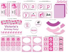 pink & purple Barbie: printable collection via Etsy.
