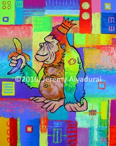King Konrad. The Monkey // © 2016, Jeremy Aiyadurai. All Rights Reserved // 24 by 30 // acrylic on canvas // Prints starting @ $27.35