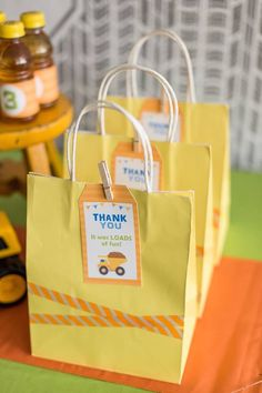 Party favors at a Construction themed birthday party via Kara's Party Ideas KarasPartyIdeas.com #constructionparty #underconstruction Cake, favors, supplies, ...