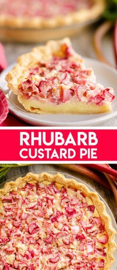 Rhubarb Custard Pie is a decadent dessert recipe perfect for a sweet summer treat. A flaky pie crust is filled with a rich egg custard and tart rhubarb for a classic rhubarb pie you will adore! Pudding Desserts, Custard Desserts, Köstliche Desserts, Best Dessert Recipes, Sweet Recipes, Fruit Custard Pie Recipe, Dinner Recipes, Rhubarb Custard Pies, Rhubarb Bars
