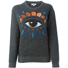 Kenzo Eye Print Sweatshirt (34385 RSD) ❤ liked on Polyvore featuring tops, hoodies, sweatshirts, grey, embroidered sweat shirts, embroidered top, grey sweatshirt, print top and pattern tops