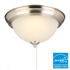 60 Watt Equivalent Brushed Nickel Integrated Led Flush Mount With Pull Chain And Gl Shade Chainceiling Lightsceiling