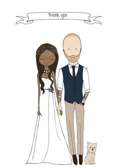 Wedding Thank You Cards, illustration by Blanka Biernat