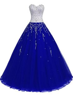 TrendProm Women's Prom Dresses Sweetheart Quinceanera Dresses Tulle with Beads Size 8 US Dark Royal Blue