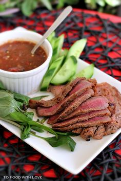 To Food with Love: Thai-style Grilled Beef with Charred Tomato and Chilli Dipping Sauce