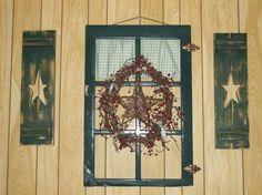 star primitive shutter | ... Decorative Primitive Wooden Star Cutout Shutters Painted Set Of Two