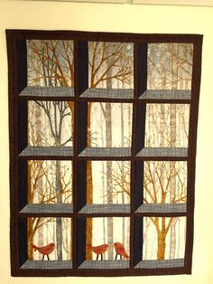 Wall hanging quilt,  attic window, trees, winter trees, winter scenery, birds $285