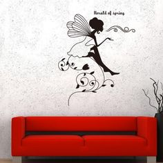 Fairy wall decals The Flower Child Lunlun  Wall stickers 100*120cm/removable wall vinyl living room wall decals US $12.90