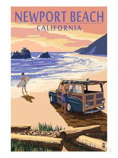woody's newport beach | Newport Beach, California - Woody on Beach Art Print