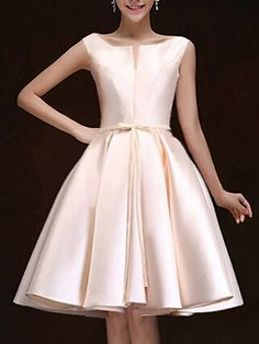 Nude Plunge Neck Bowknot Waist Lacing Back Prom Skater Dress | Choies