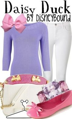 Daisy Duck ::white jeans/shorts, lavender tee, pink sperrys, pink bow::