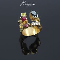 handmade brass ring with hematite+ zirconian stone