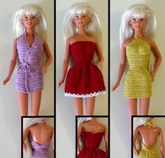My mom crocheted me so many Barbie clothes! They were always so much better than the clothes that Barbie came with. Barbie Gowns, Barbie Dress, Barbie Doll, Barbie Outfits, Barbie Clothes Patterns, Crochet Barbie Clothes, Doll Patterns, Crochet Dresses, Crochet Patterns