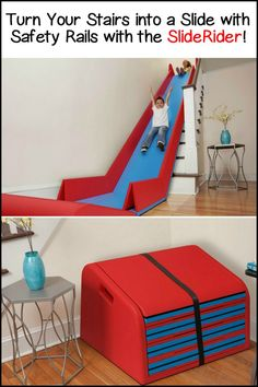 Turn your stairs Into a slide complete with safety rails with the SlideRider!