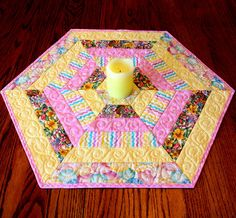 Hexagon Quilted Easter Table Topper  or Candle Mat, Table Runner Quilt in Pink and Yellow. Easter Decor
