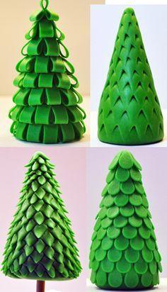 Cake & Cupcake Toppers Inspiration - Christmas, Pine Tree Styles, Fondant