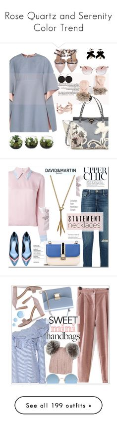 """Rose Quartz and Serenity Color Trend"" by yours-styling-best-friend ❤ liked on Polyvore featuring Valentino, Torrid, Oliver Peoples, Yves Saint Laurent, Frame, Roksanda, Lanvin, Johanna Ortiz, Eugenia Kim and Sunday Somewhere"