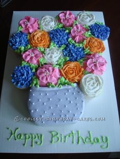 Coolest Birthday Bouquet of Flowers... This website is the Pinterest of birthday cake ideas