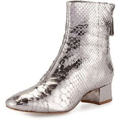 Alexandre Birman Jessie Metallic Python Ankle Boot ($1,025) ❤ liked on Polyvore featuring shoes, boots, ankle booties, shoes booties, back zip boots, bootie boots, back zipper boots, block heel ankle boots and python boots