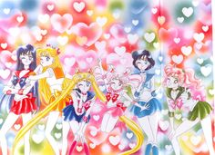 "美少女戦士セーラームーン原画集 Sailor Moon Original Artbook Vol.3 ""This is a really flashy color picture. But I really like the pose of these six. The hearts in the background are heart seals used for wrapping. I love using heart shapes and star shapes in color pictures. I used star seals in the picture on the previous page."" by Naoko Takeuchi - Title page of the April 1994 Nakayoshi."
