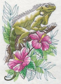 2 Island Tropical Iguana lizard  Sketch   embroidered fabric quilt blocks