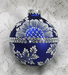 Royal Blue Hand Painted 3D Floral MUD Ornament with Rhinestone Bling. $35.00, via Etsy.