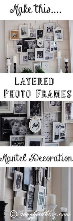 A different kind of Valentines mantel: a heart-shaped layered photo frames decoration. This photo display is a different take on the traditional gallery wall. From http://www.songbirdblog.com