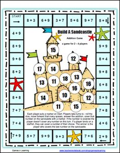 Build A Sandcastle Addition Board Game from Games 4 Learning on TeachersNotebook.com -  (3 pages)