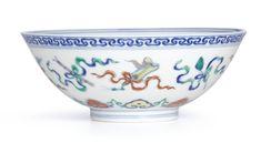 A doucai 'Eight daoist emblems' bowl, mark and period of Yongzheng