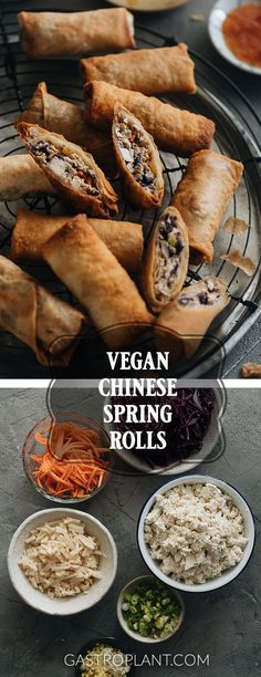 These vegan spring rolls are full of crunchy bamboo shoots, carrots, red cabbage, and tender tofu. They're crispy after reheating and perfect party food! Vegan Appetizers, Appetizers For Party, Appetizer Recipes, Dinner Recipes, Snack Recipes, Best Vegan Recipes, Asian Recipes, Whole Food Recipes, Ethnic Recipes