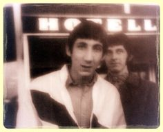 Pete Townshend and John Entwistle leaving a hotel in Sweden