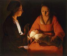 Le Nouveau né (1648) de Georges de La Tour. La toile est un sommet du clair-obscur, et tire également sa popularité du fait que les signes religieux s'effacent pour donner à la scène une portée universelle : celle de la célébration du mystère de la naissance d'un enfant.