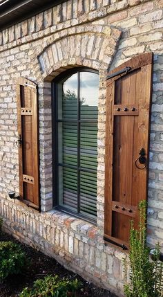 New Step by Step Roadmap for Barnwood Window Shutters - Outdoor Window Shutters, Cedar Shutters, Rustic Shutters, House Shutters, Diy Shutters, Wooden Shutters Exterior, Rustic Brick House Exterior, Red Brick Exteriors, Exterior Windows