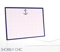 Pink Squares and Navy Anchor Notecard Set by ShorelyChic on Etsy, $14.50