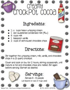 Crockpot cocoa for Polar Express Party. I'd add milk and some cocoa powder to this recipe to make a bigger batch Crockpot Hot Chocolate, Hot Chocolate Bars, Hot Chocolate Recipes, Homemade Hot Chocolate, Polar Express Hot Chocolate Recipe, Chocolate Chips, Hot Cocoa Recipe, Cocoa Recipes, Kid Recipes