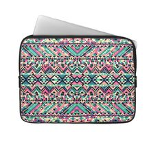 Pink Turquoise Girly Aztec Andes Tribal Pattern Laptop Computer Sleeves