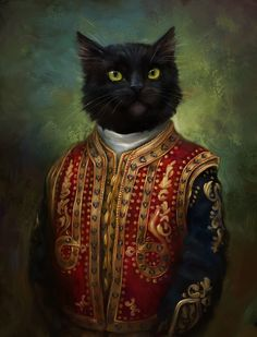 Vintage Cat Portrait.