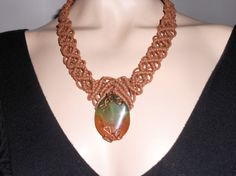 Macramé necklace brown with pietra dura and by AngelaMacrame, €50.00