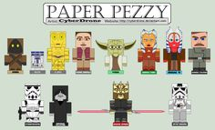 """Paper Pezzy - Star Wars by CyberDrone on deviantART - printable patterns for MANY 3-D paper """"pezzies"""" and """"cubees"""" on this website"""