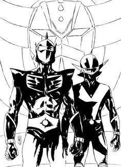 """wertherscut: """"Grendizer (Godrake) + Duke Fleed (Actarus) + Koji Kabuto (Alcor) Nib + Brush + Ink on paper """""""