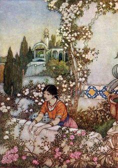 The Blowing Rose    Rubaiyat  Edmund Dulac illustration