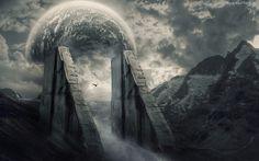 Góry, Przejście, Chmury, Ptak, Planeta