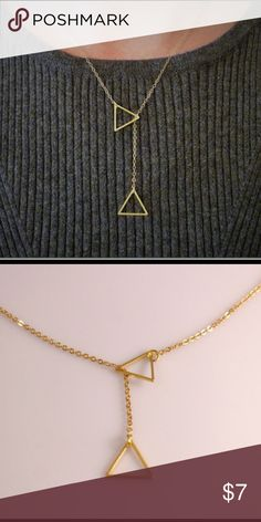 Triangle Lariat Gold toned triangle Lariat necklace Jewelry Necklaces