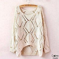 Retro Striped Loose Knit Sweater Jacket on Luulla Sweater Knitting Patterns, Easy Knitting, Knitting Designs, Knitting Sweaters, Hand Knit Scarf, Loose Knit Sweaters, Knit Fashion, Crochet Clothes, Sweater Jacket