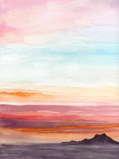 Items similar to Dusk – Original Watercolor Painting – Watercolor Sunset Landscape Painting on Etsy Aquarell Sonnenuntergang Malerei Watercolor Landscape Tutorial, Watercolor Sunset, Watercolor Projects, Watercolor Landscape Paintings, Watercolor Ideas, Watercolor Illustration, Abstract Watercolor, Water Color Painting Landscape, Tattoo Watercolor
