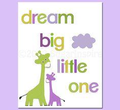 Giraffe nursery Art Print Dream Big Little One by SugarInspire, $14.95