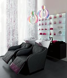 Maletti Glamour Collection consists of Maletti 330 Shampoo Units and Maletti Expo Light Display Stands