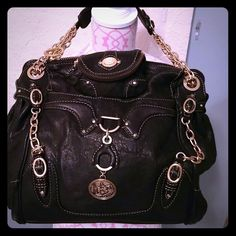 Reduced - FINAL Juice Couture bag ALL leather, gold hardware large bag. 16X11 Juicy Couture Bags Satchels