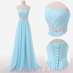 2016 Modest Sweetheart Sky Blue Chiffon Prom Dresses Beading Mint Evening Gowns Bridesmaid Dress
