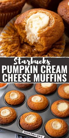 These are delicious Starbucks pumpkin cream cheese muffins with a very light and fluffy texture. Really, these are the most delicate and airy pumpkin muffins I've ever tasted. Fall Recipes, Sweet Recipes, Recipes For Pumpkin, Autumn Recipes Baking, Pumpkin Foods, Holiday Recipes, Pumpkin Dessert, Pumpkin Cakes, Pumpkin Bread
